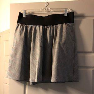Express flare black and white mini skirt
